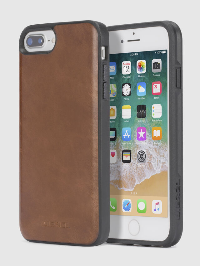 Diesel - BROWN LEATHER IPHONE 8 PLUS/7 PLUS/6s PLUS/6 PLUS CASE, Marron - Coques - Image 1