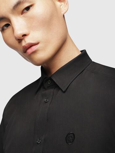 Chemise à manches longues en popeline de coton