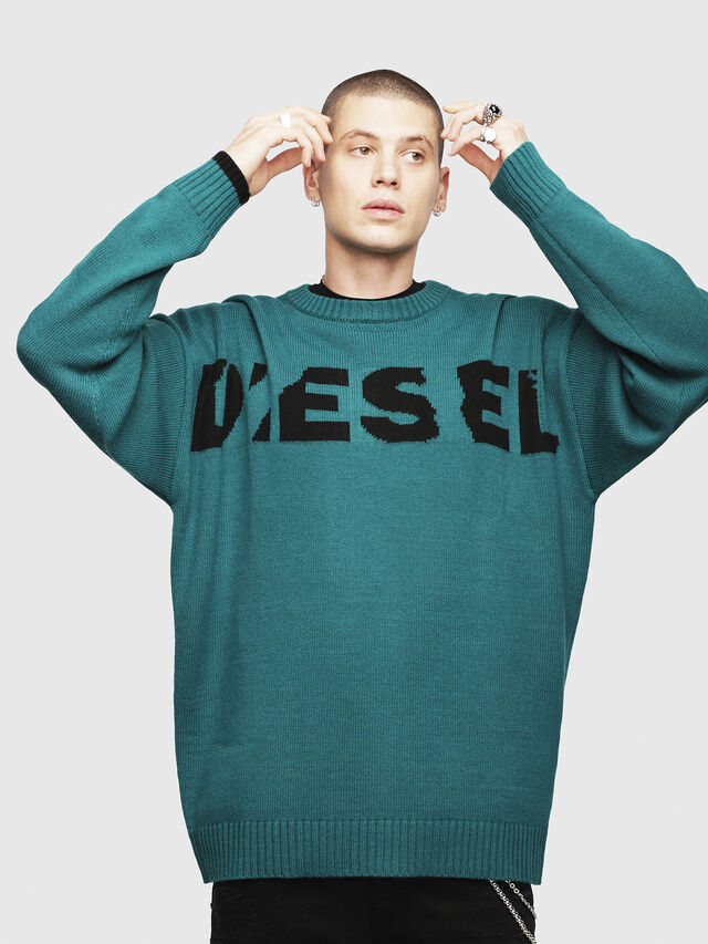 Diesel - K-LOGOX, Vert Foncé - Pull Maille - Image 1