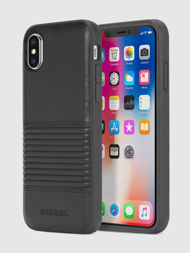 Diesel - BLACK LINED LEATHER IPHONE X CASE, Cuir Noir - Coques - Image 1