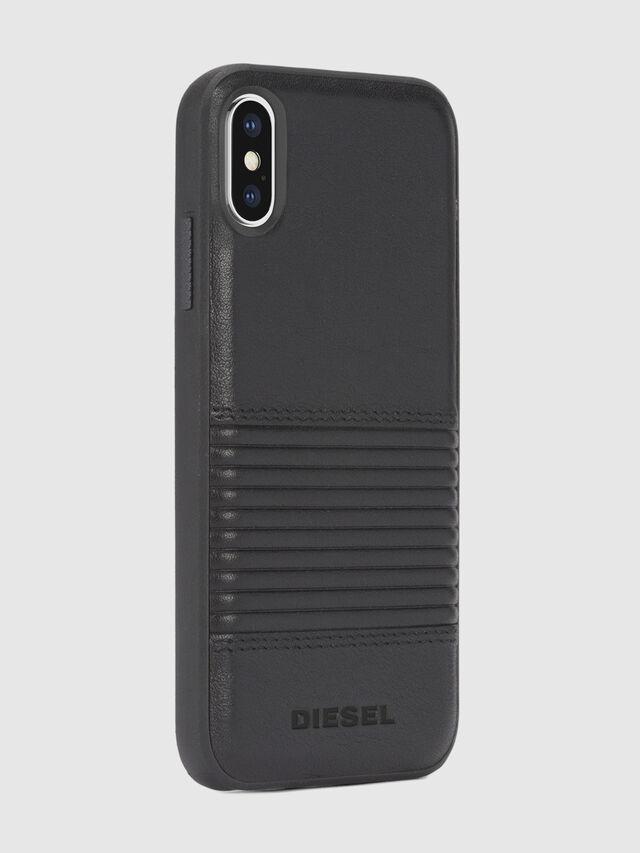 BLACK LINED LEATHER IPHONE X CASE, Cuir Noir