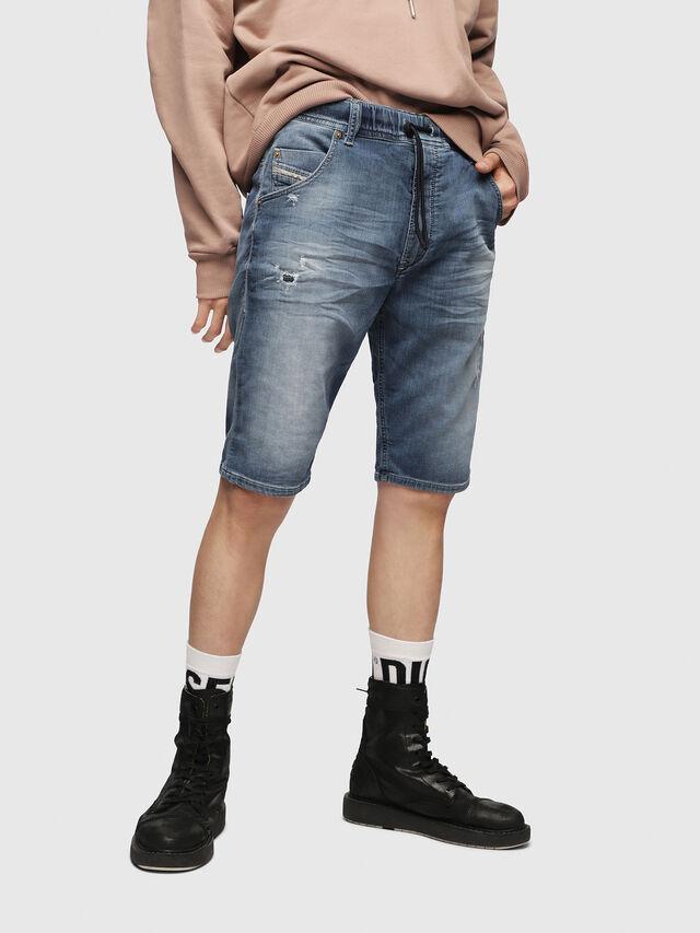 Diesel KROOSHORT JOGGJEANS, Bleu Clair - Shorts - Image 1