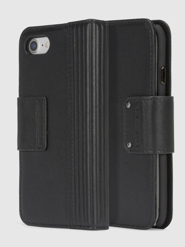 Diesel - BLACK LINED LEATHER IPHONE 8/7 FOLIO, Noir - Coques à rabat - Image 1