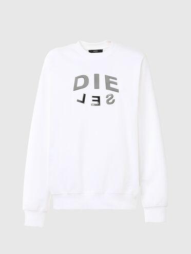 Sweat-shirt avec imprimé «DIE-SEL» métallisé