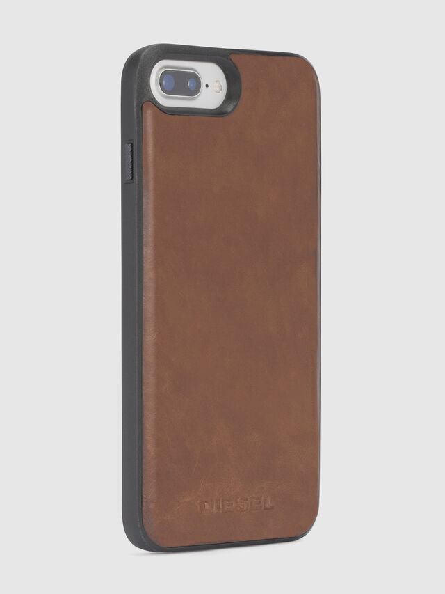 Diesel - BROWN LEATHER IPHONE 8 PLUS/7 PLUS/6s PLUS/6 PLUS CASE, Marron - Coques - Image 4