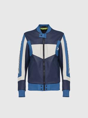 L-MAY, Bleu/Blanc - Vestes de cuir