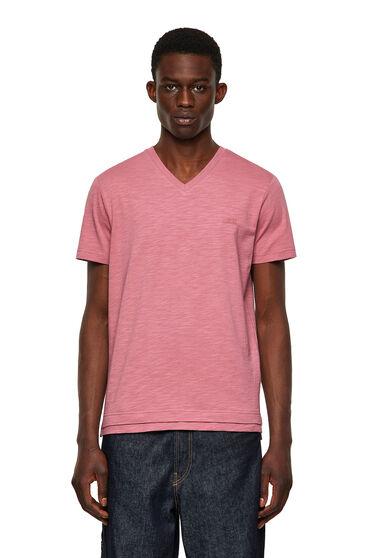 T-shirt col V en coton flammé