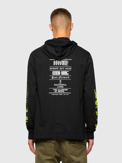 Diesel - T-JUST-LS-HOOD-TAPES, Noir - T-Shirts - Image 2