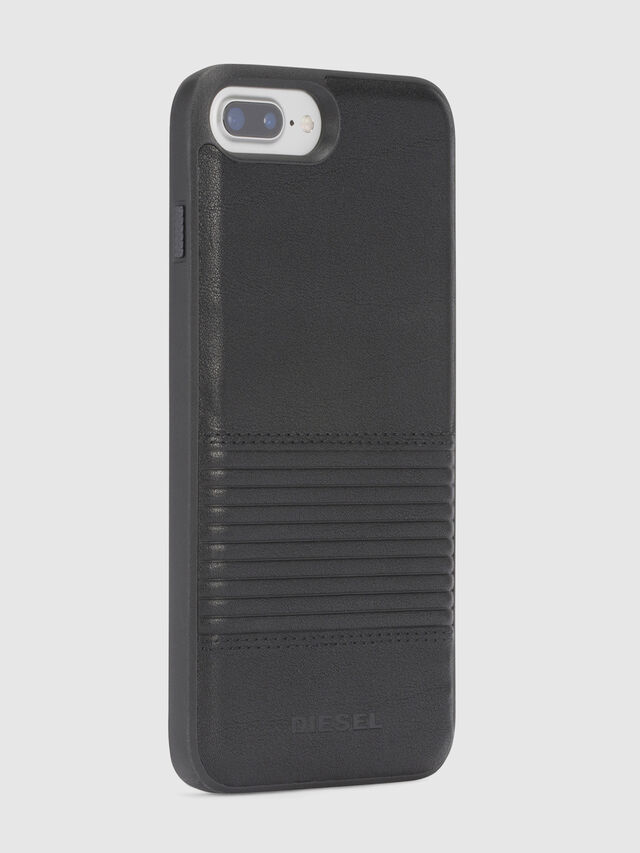 BLACK LINED LEATHER IPHONE 8 PLUS/7 PLUS/6s PLUS/6 PLUS CASE, Noir