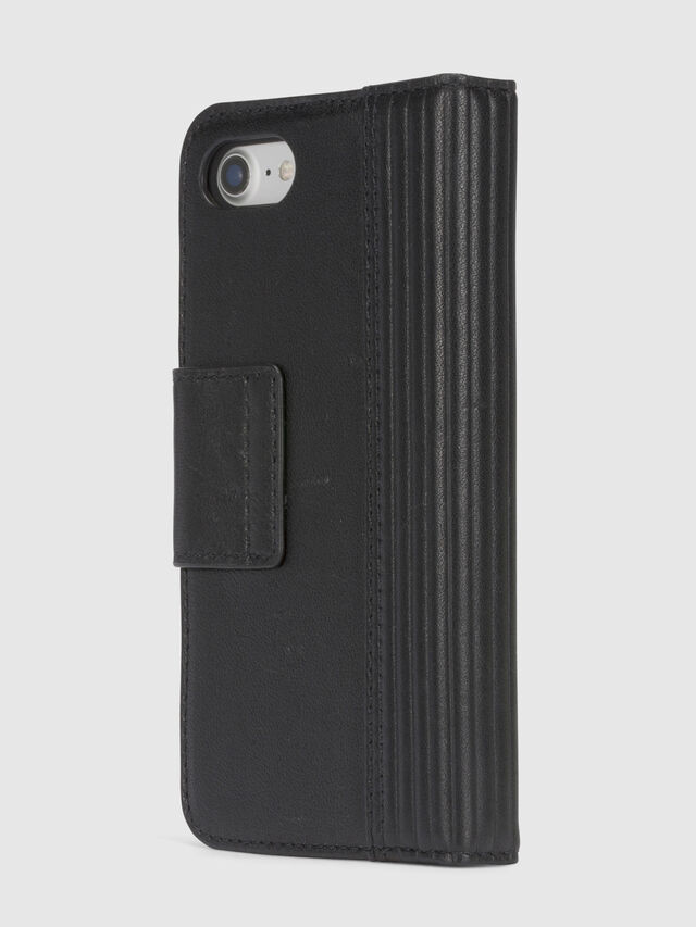 Diesel - BLACK LINED LEATHER IPHONE 8/7 FOLIO, Noir - Coques à rabat - Image 5