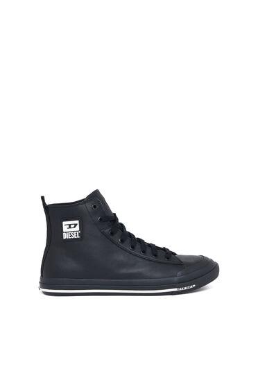 Sneakers montantes en cuir lisse