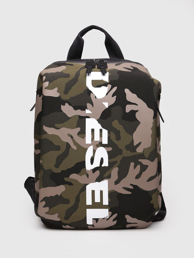Diesel - F-SUBCAMOU BACK, Vert Camouflage - Sacs à dos - Image 1
