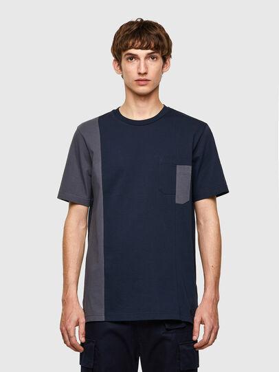 Diesel - T-RISEN-B1, Bleu Foncé - T-Shirts - Image 1