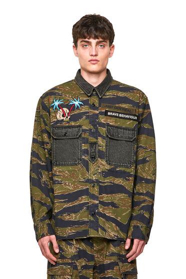 Chemise camouflage en sergé de coton stretch