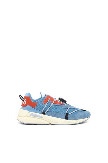 Sneakers en mesh, en nylon et en daim