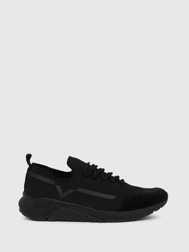 Sneakers monochromes avec détail contrastant