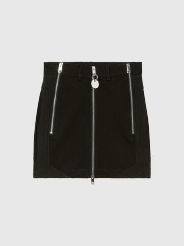 Mini-jupe en maille milanaise avec fermetures zippées