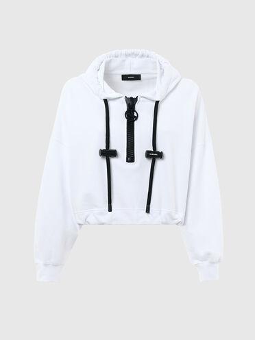 Sweat-shirt cropped à capuche avec détails contrastants