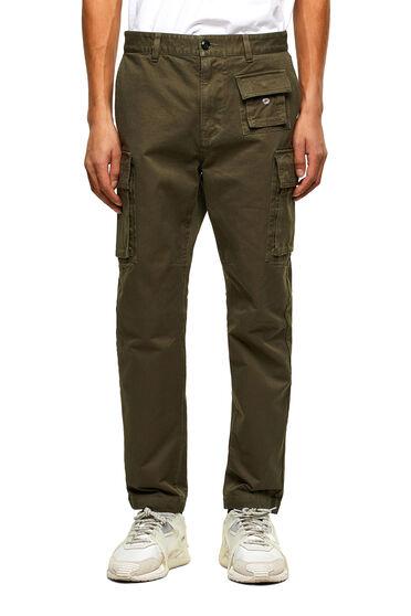 Pantalon cargo en sergé de coton triple retors.