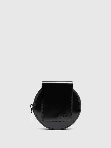Portefeuille mini-bag rond en cuir brillant