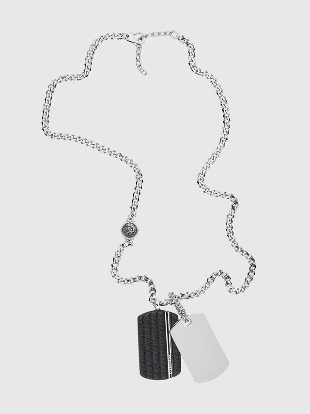 Diesel - NECKLACE DX1040, Gris argenté - Colliers - Image 1