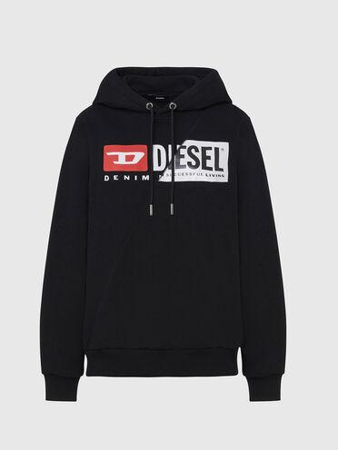 Sweat-shirt à capuche en coton avec logo patchwork