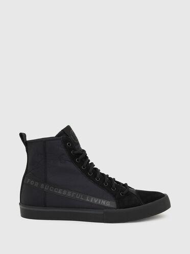 Sneakers montantes en nylon et daim