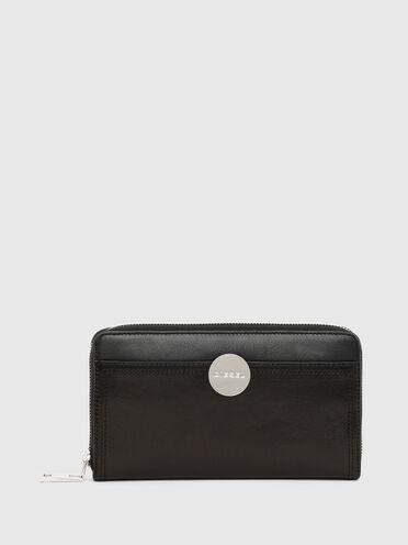 Portefeuille zippé avec plaque à logo