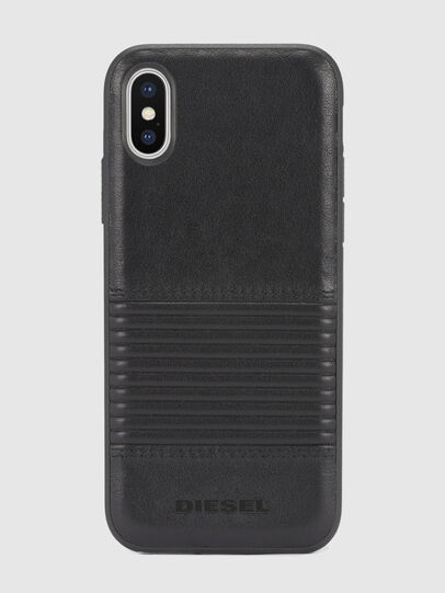 Diesel - BLACK LINED LEATHER IPHONE X CASE, Cuir Noir - Coques - Image 2