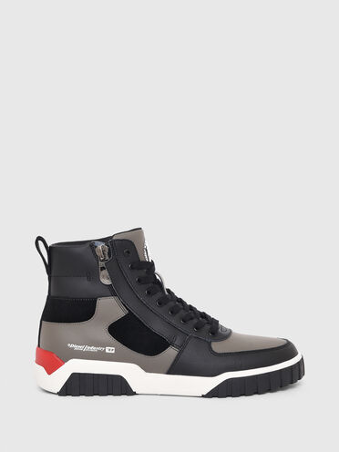 Sneakers montantes en cuir et daim