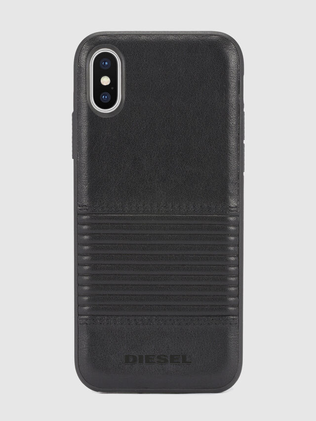 BLACK LINED LEATHER IPHONE X CASE, Cuir Noir