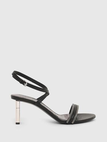 Sandales à demi-talons en cuir
