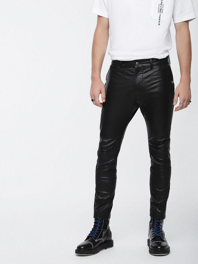 Diesel - P-MONTE-L, Cuir Noir - Pantalons - Image 1