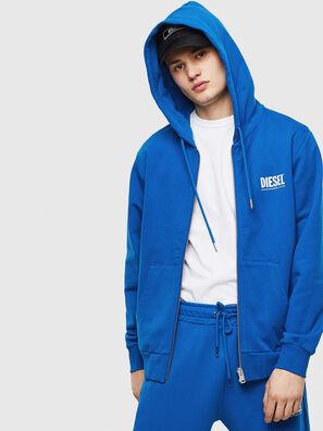 S-GIRK-HOOD-ZIP-LOGO, Bleu - Pull Cotton