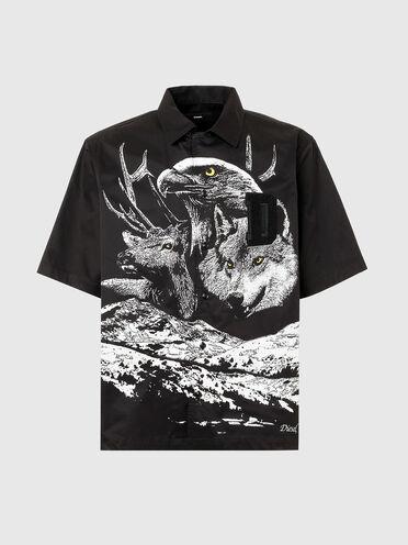 Chemise à col cavalier avec imprimé photo