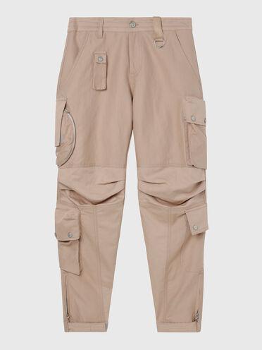 Pantalon cargo en sergé de coton et lin