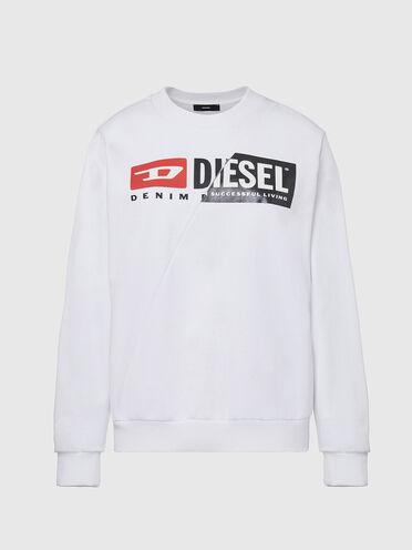 Sweat-shirt en coton avec logo divisé