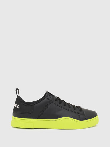 Sneakers en cuir avec semelle contrastante