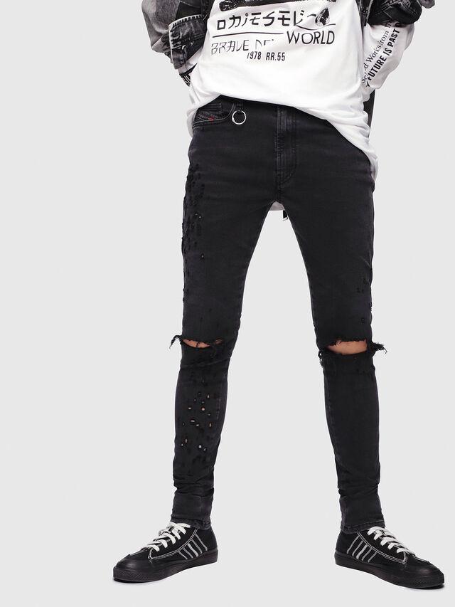 6727d82641 D-ISTORT 085AW Homme: Skinny Jeans Noir/Gris foncé | Diesel