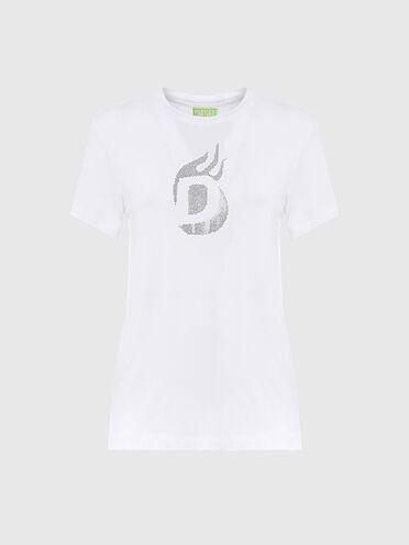 T-shirt label vert avec logo clouté