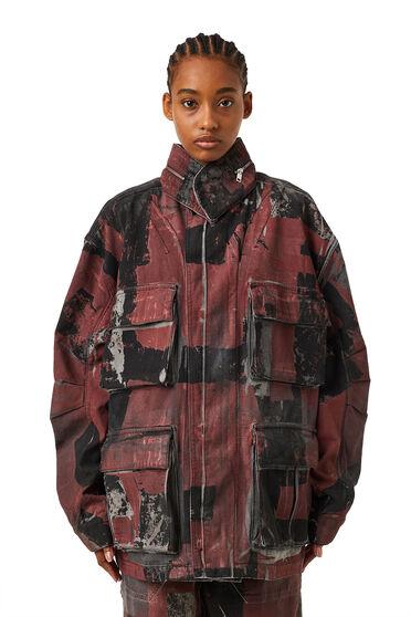 Veste utilitaire en denim camouflage
