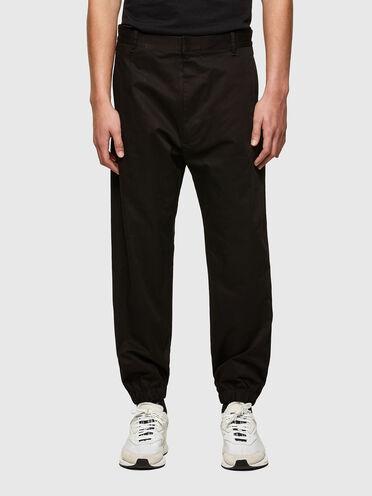 Pantalon en gabardine à inserts côtelés