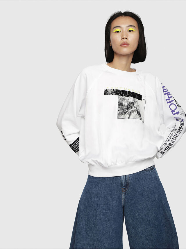 Diesel - F-JUSTY, Blanc - Pull Cotton - Image 1