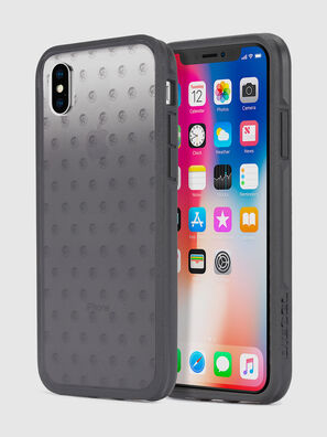 MOHICAN HEAD DOTS BLACK IPHONE X CASE, Noir/Gris - Coques