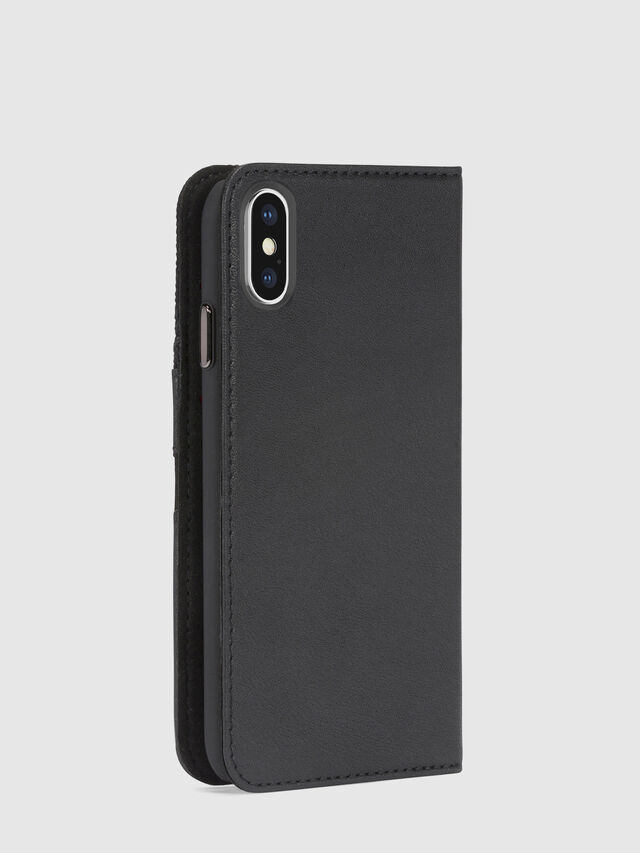 BLACK DENIM/STUD/ZIPPER IPHONE X FOLIO, Noir