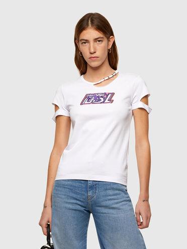 T-shirt à découpe avec logo DSL