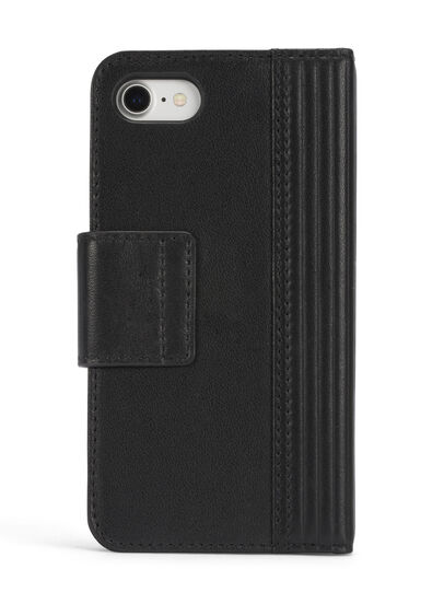 Diesel - BLACK LINED LEATHER IPHONE 8 PLUS/7 PLUS FOLIO, Noir - Coques à rabat - Image 5