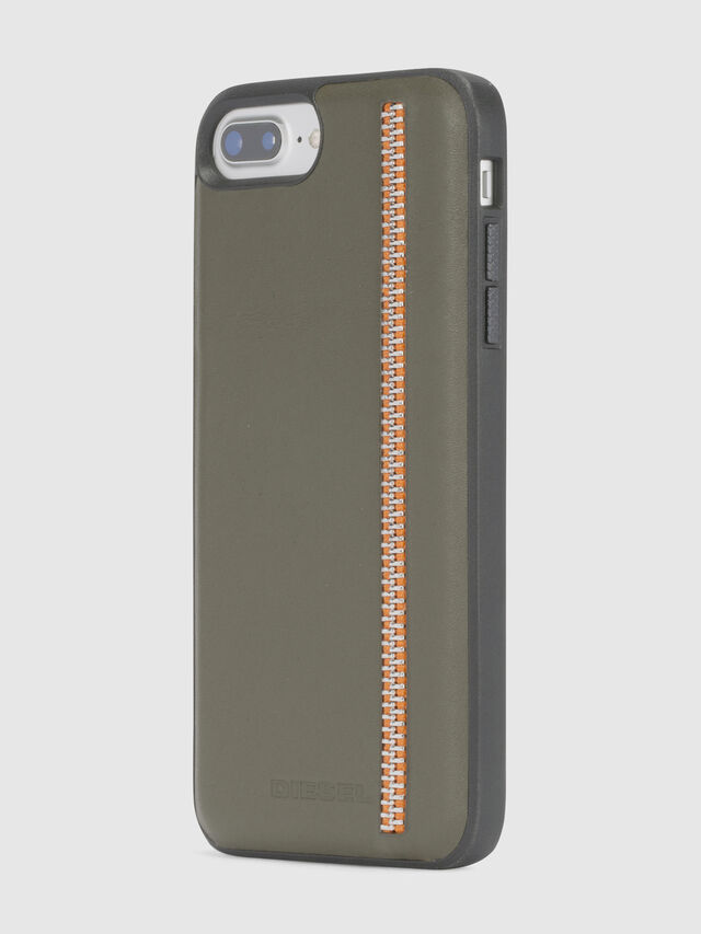 Diesel - ZIP OLIVE LEATHER IPHONE 8 PLUS/7 PLUS/6s PLUS/6 PLUS CASE, Vert Olive - Coques - Image 3