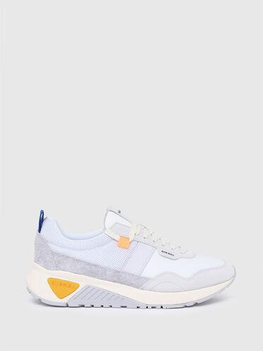 Sneakers en matériau indéchirable, mesh et cuir suédé