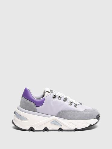 Sneakers épaisses en nylon et daim